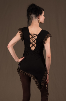 T35 - Top in Viscose-lycra with assymetric down peaks, linked backless, linked open sides and crumpled lace