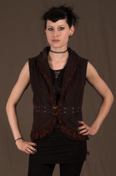Veste féminine cloutée sans manche, sans capuche, avec froissé de filet et dentelle