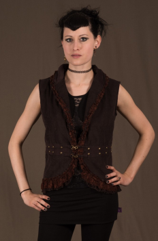 Women jacket studed No sleeve, No hood with crumpled net & lace