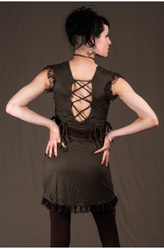 D3 - Dress in Viscose-lycra with linked backless, linked open sides and crumpled lace