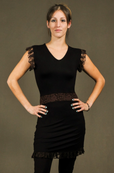 D4 - Dress in Viscose-lycra with crumpled lace