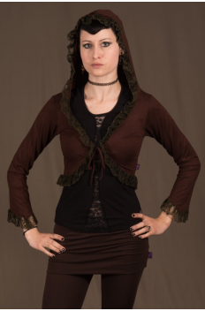 T4 - Top in Viscose-lycra with sleeves, peak hood, peak back and crumpled lace