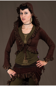 T6 - Top in Viscose-lycra with sleeves, peak hood and crumpled lace