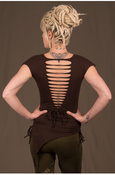 T11 - Top in Cotton-lycra with symetric down peaks, cutting backless, crumpled by raising sides links