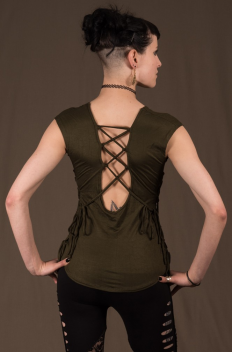 T17 - Top in Viscose-lycra with linked backless and linked open sides