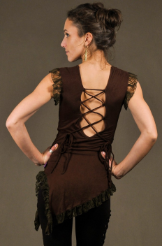 T27 - Top in Viscose-lycra with symetric down peaks, linked backless and crumpled lace