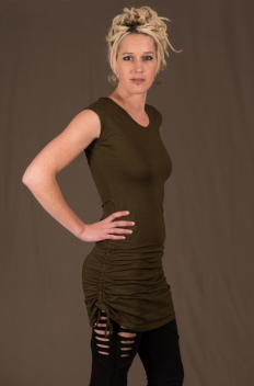 T45 - Top long in Cotton-lycra with crumpled by raising sides links