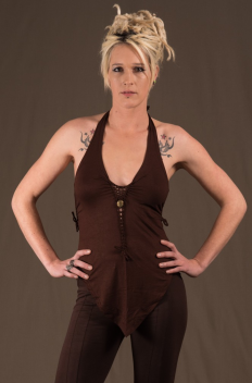 T50 - Top in Viscose-lycra with front down peak, open knotted low-cut neckline, linked backless and knotted open sides