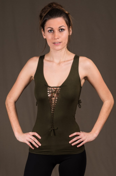 T51 - Top in Viscose-lycra with open knotted low-cut neckline, linked backless and knotted open sides