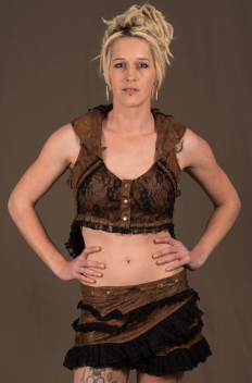 Bolero Collar Micro-fibers with Lace Backless and Brass sides Buckles