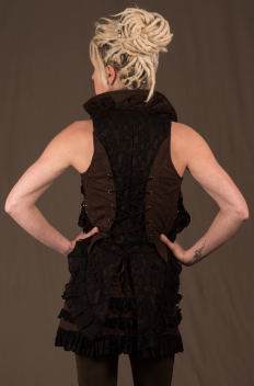 Bolero Brass studded with linked Lace Tailcoat in Micro-fibers