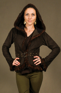 Women Jacket studed with crumpled net & lace