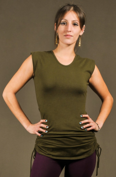 T12 - Top in Cotton-lycra with crumpled by side links to raising the down side