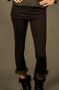 P5 - Legg'in 3/4 long en Coton-lycra avec mini-jupe intégrée et froissé de dentelle bas
