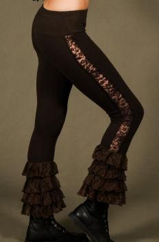 P4 - Legg'in en Coton-lycra avec jambes ajourées de dentelle et froissé de dentelle